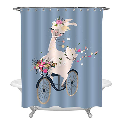 (MitoVilla Romantic Pink Alpaca Shower Curtain, Girl Llama Driving The Vintage Bicycle with Flower Bouquet on Blue Backdrop Decorations, Cute Wildlife Bathtub Accessories for Spring, 72 W by 78)