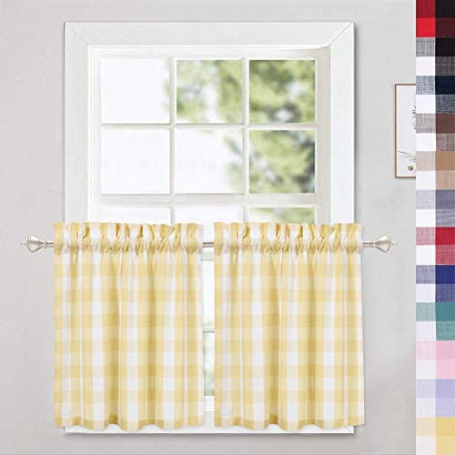 Amazon Com Caromio Cafe Curtains 24 Inch Yellow And White Buffalo Plaid Gingham Check Short Tier For Kitchen Bathroom Window Curtain Home