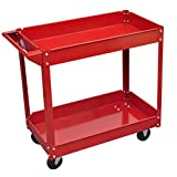 Rolling 2 Tray Utility Cart Dolly 220lbs Storage Shelves Workshop Garage Tool ;supply_by_vidaxl-us