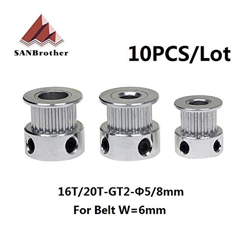 GT2 Timing Pulley 20Teeth Alumium Gear Bore 5MM 6.35MM 8MM For GT2 Belt Width 10