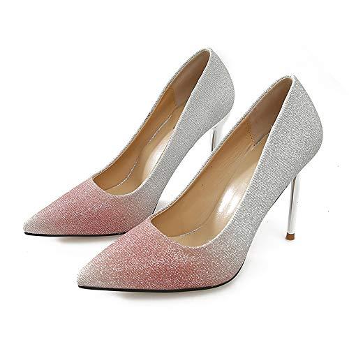 Boda Mujer Invierno Botas Degradado Punta Fina Individuales Tacones E Women's Profesionales De Otoño Altos Pink Con Lentejuelas Zapatos Hoesczs Color FawgqEYda
