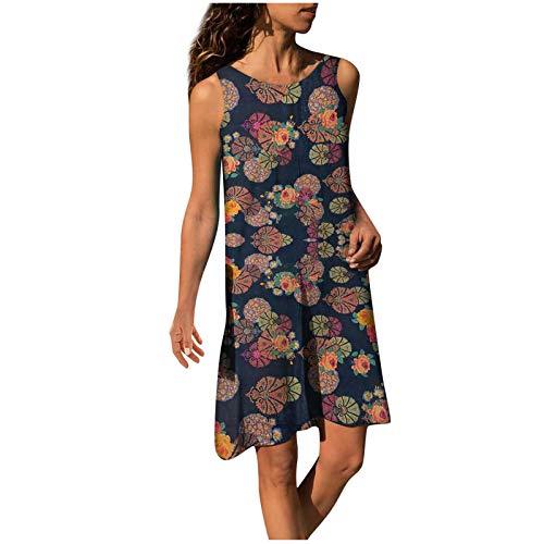 BIBOKAOKE Zomerjurk voor dames, ronde hals, retro, bloemen, mini-jurk, katoen, linnen, strandjurk, grote maten, korte…