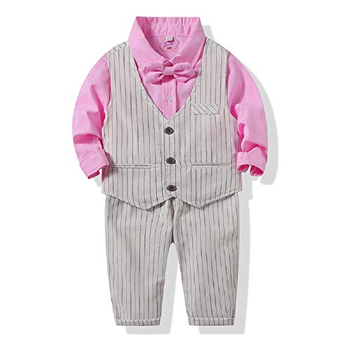 tommelise Baby Boys Gentleman Long Sleeve Set with Vest, Pant, Shirt, and Bow Tie, 4Pcs Outfit (Pink, 70(0-6M))]()