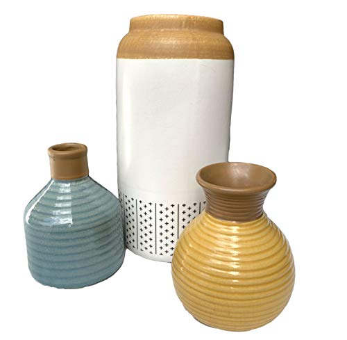 Tapps Home Décor Line 3 Piece Ceramic Crackle Finish Vase Set in White, Blue, and Yellow (Vase Pottery Yellow)
