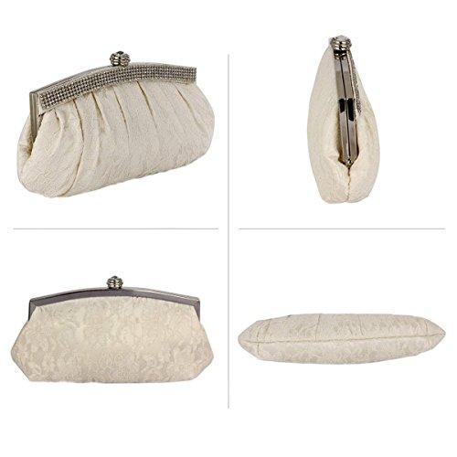 Satin Diamante Clutch Ivory Design Prom Handbag Foral Trim Purse Lace Wedding Crystal Evening Party Bags Bag Bridal 5XnBXdqaw