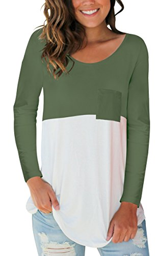 s Plain Loose Fit T Shirt with Pocket Color Block Trendy Top Green M ()