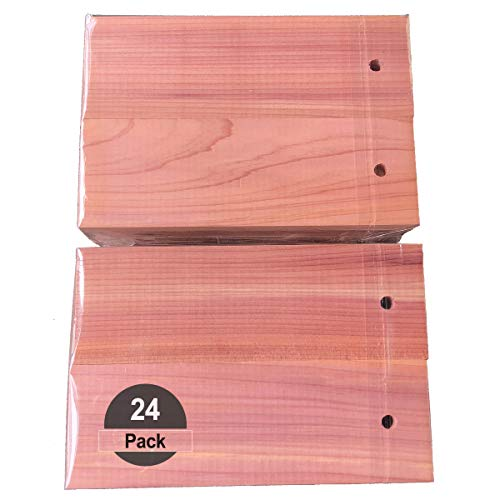 HomeDo 24Pack Cedar Wood Hang-ups for Hanger, Natural Red Cedar Wood for Clothing Closets and Drawers Cupboards, Clothes Storage Protector (Cedar Hangs-24Pack)