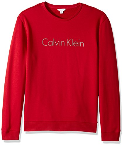 Mens Crew Red Logo Sweatshirt (Calvin Klein Men's Long Sleeve Logo Crew Neck Sweatshirt, Jester Red, Large)