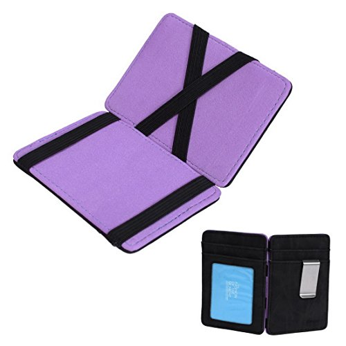 (ECM07B01 Purple Black Solid Magic Wallet and Credit/ID Case Thanksgiving Day Presents Leather Mens Card Holder Wallet Lowest Family By Epoint)