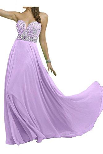 Novia de gasa elegante de cristal en forma de corazón de la Toscana por la noche vestidos de madrinas duro de larga duración de la bola vestidos de fiesta morado