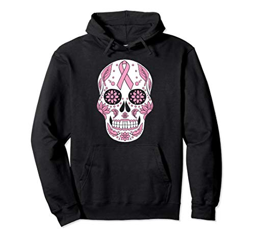 Wife Mom Breast Cancer Awareness Skull Pink Ribbon Hoodie