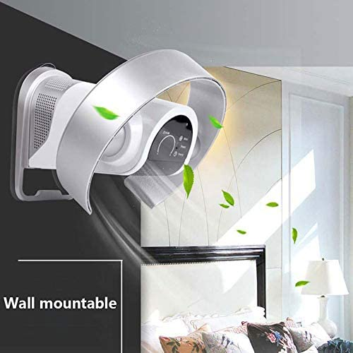 LYBC Ventilatore Pieghevole Senza Foglie per casa/Ufficio,Ventilatore Oscillante a Parete con Telecomando,9 velocità/Ultra-Silenzioso,Bianco/Argento