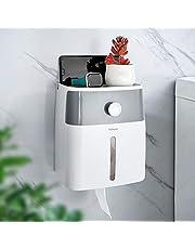 YOHOM toiletrolhouder waterdicht toiletdispenser met opbergdoos en telefoonhouder zelfklevend grijs en wit