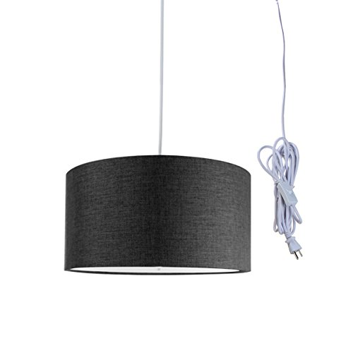 2 Light Plug-in Pendant Light by Home Concept - Hanging Swag Lamp Shallow Drum Granite Grey with Diffuser - Perfect for Apartments, dorms, no Wiring Needed (Grey, White Two-Light)