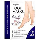 Foot Peel Mask 3 Pairs -1 Pair Exfoliating Foot Peel Mask & 2 Pairs Moisturizing Foot Mask, Peeling Away Calluses and Dead Skin cells, Repair Rough Heels by Evagloss