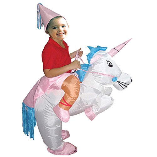 Costume Unicorn Riding A (Quesera Women's Inflatable Costume Funny Animal Riding Halloween Blow Up Costume, D, free size for)