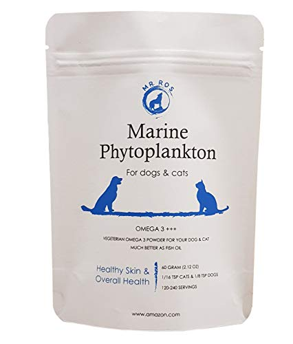 Marine Phytoplankton Omega 3 EPA Non Fish Oil Vegetarian Superfood Powder for Dogs & Cats for Healthy Skin & Overall Health