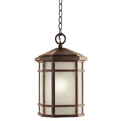 Kichler Lighting 11021PR Cameron 18-Watt 1-Light Fluorescent Energy Star Outdoor Pendant, Prairie Rock with White-Etched Linen Glass