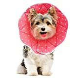 SunGrow Comfy Cone for Dogs and Cats, Post Surgery Recovery Collar, No Stress to Pets, Water Resistant, Adjustable Loop Type Wrist Fasteners, No Vision Blockage, Cute and Soft,