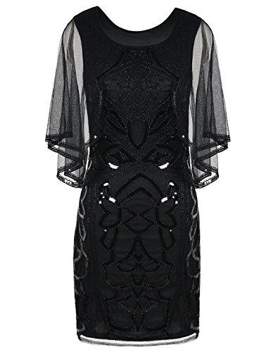PrettyGuide Women's Flapper Dress 1920s Gatsby Inspired Sequin Art Deco with Cape XL Black (Drop Waist Womens Dress)