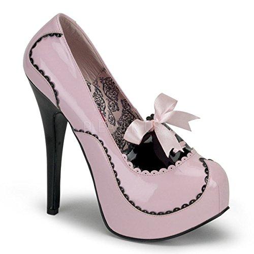 Bordello Door Pleaser Dames Teeze-01 Platformpomp Baby Roze / Zwart