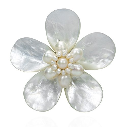 White Cultured Pearls Pin Brooch (AeraVida Daisy Delight Mother of Pearl and Cultured Freshwater White Pearl Pin-Brooch)