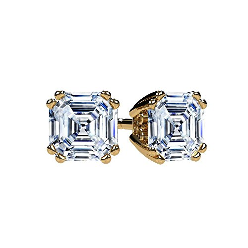 NANA Asscher Cut Swarovski CZ Stud Earrings Silver & 14k Gold Post - 6mm-2.50cttw - Yellow Gold Plated ()