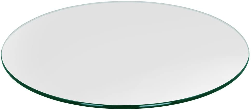 """TroySys Glass Table Top, Pencil Polish Edge, Tempered Glass, 32"""" L Round"""