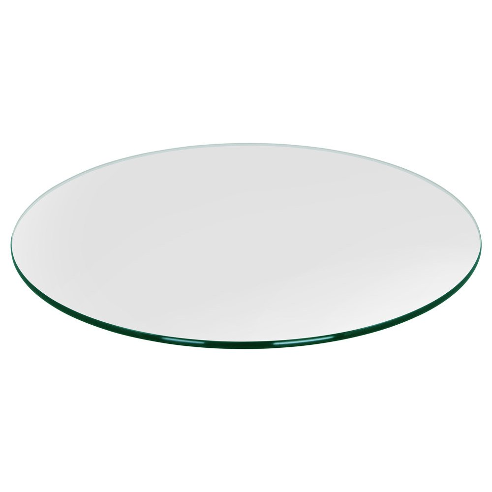 Dulles Glass & Mirror Round Glass Table Top 3/8 (10mm) Thick Pencil Polish Edge Tempered, 20'' Inch, Clear