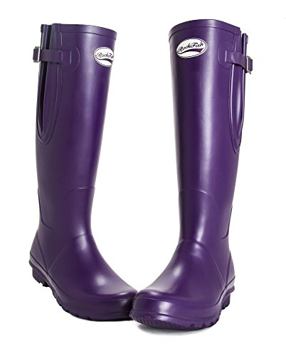 and Women's wide standard fit calf adjustable GRAPE PURPLE Rockfish Wellies wellies Neoprene CdBXwUqw