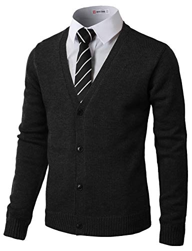 H2H Mens Fashion Basic Button Front Marble Color Cardigan Black US S/Asia M (CMOCAL017)