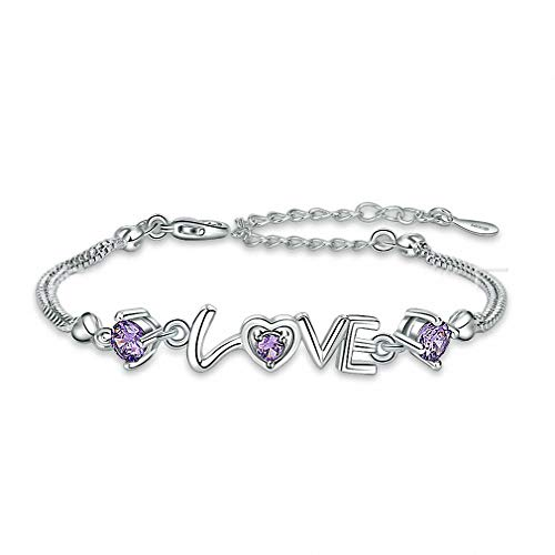 Giwotu Womens Bracelets 925 Sterling Silver Romantic Love Bracelet Double Heart Jewelry Crystal Zircon Handmade Chain Purple