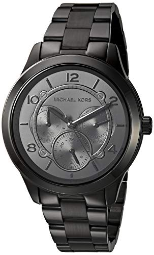 Michael Kors Women's Runway Quartz Watch with Stainless-Steel-Plated Strap, Black, 18 (Model: MK6608)