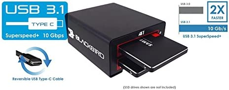 Atech Flash Blackjet VX-2SSD USB 3.1 10Gbps USB Type-C [Thunderbolt 3 Compatible], dual SSD docking station [Supports UASP][SATA3]