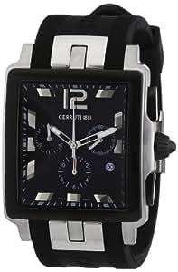 Cerruti 1881 CRB003E224G - Reloj de caballero de cuarzo, correa de silicona color negro
