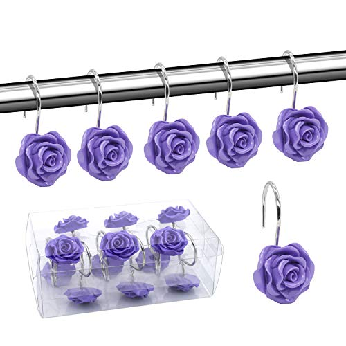 BEAVO Shower Curtain Hooks, Home Decorative Rustproof Shower Curtain Hooks Resin Rose Flower Shower Hooks Rings for Bathroom Shower Rods Curtains,Set of 12 Hooks (Purple)