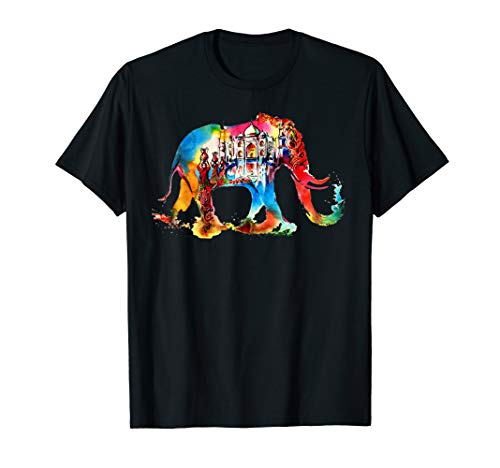 (India Elephant Vintage Travel Love Watercolor T-Shirt)