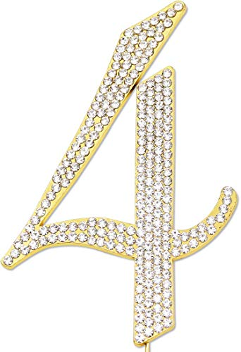 Sparkly Rhinestones Number 4 Cake Topper, Birthday Wedding Anniversary Gold Number 4 -