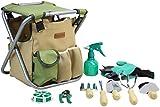 INNO STAGE 10 Piece Gardening Hand Tools Set with Garden Storage Tote Bag and Seat-Best Garden Tools Kit Organizer