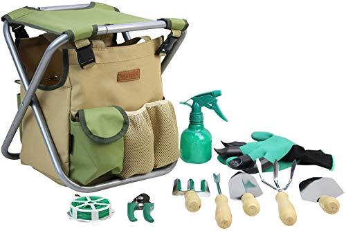10 Garden Piece - INNO STAGE 10 Piece Gardening Hand Tools Set with Garden Storage Tote Bag and Seat-Best Garden Tools Kit Organizer