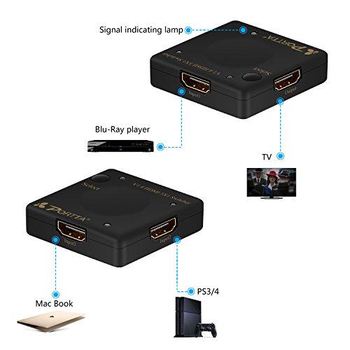 Portta - Interruptor automático (3 puertos, HDMI4), Conmutador V1.4 mini de 3 puertos, No, HDMI Switcher