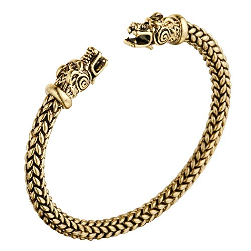 AILUOR Men's Double Head Dragon Bracelet, Norse Viking Adjustable Stainless Steel Gold Sliver Cuff Cool Polished Twisted Arm Ring Cable Bangles Pagan Jewelry (Gold) ()