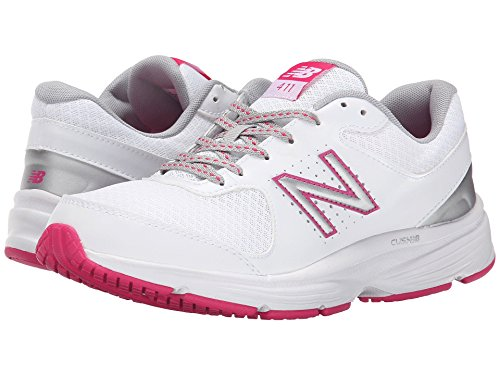 アンソロジーポスト印象派思春期(ニューバランス) New Balance レディースウォーキングシューズ?靴 WW411v2 White/Pink 10 (27cm) B - Medium
