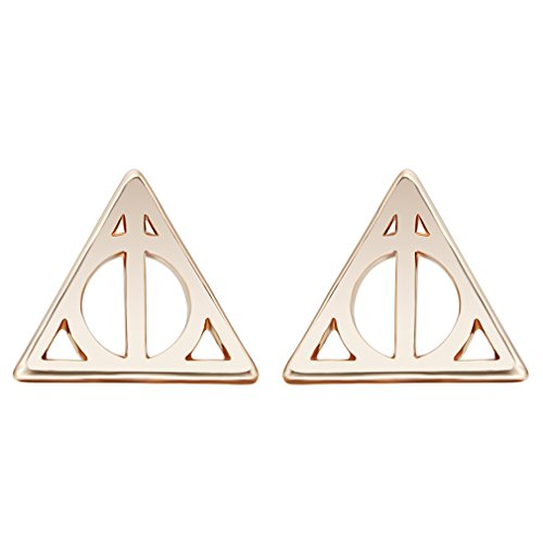 Punk Jewelry Gold Simple Triangular Geometry Hallows Luna Triangle Stud Earrings For Women ()