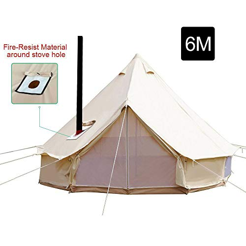 PlayDo 6M Waterproofing Large Cotton Canvas Bell Tent Camping Yurts Tent Hunting Wall Tent with Top Stove Hole for 10 More Person