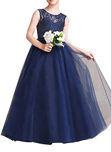 EsTong Big Girl Lace Bridesmaid Dress Dance Gown A Line Maxi Dresses Navy Blue 5-6 - Blue Pale Lace Dress