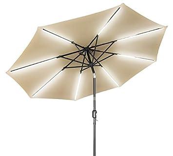 Trademark Innovations 9 Deluxe Solar Powered LED Strip Lighted Patio Umbrella Tan