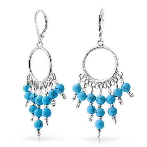 Boho Style Stabilized Turquoise Blue Leverback Fringe Bead Dangling Beads Earrings For Women For Teen Sterling Silver