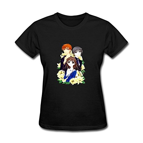 ZHENGXING Women's Fruits Basket Anime Logo Short Sleeve T-Shirt M ColorName (Tampa Gift Baskets)