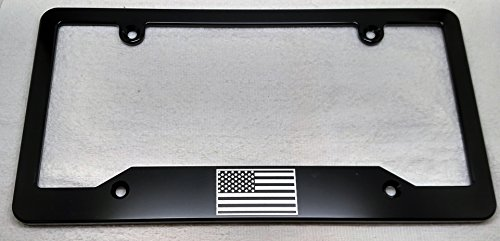 BilletVault AMERICAN FLAG, BILLET ALUMINUM LICENSE PLATE FRAME-BLACK ()
